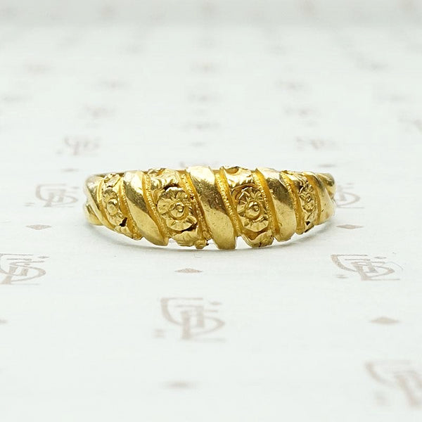 Unusual Twisted Gold Band with Flowers & Facets