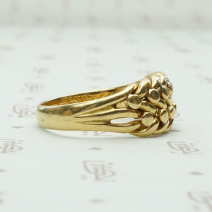 English 18ct Braid & Ball Keeper Ring
