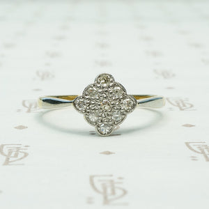 3 x 3 a 9 diamond scalloped edge square on point platinum on 18k yellow gold ring