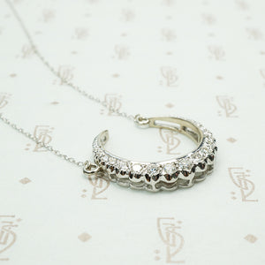 The White Gold Diamond Crescent Moon Necklace