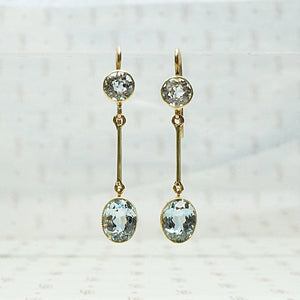Pure Icy Aquamarine Drop Earrings in 15ct Gold