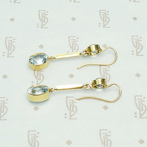 Pure Icy Aquamarine Drop Earrings in 15ct Gold, side view