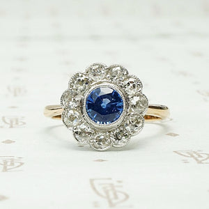 Charming Sapphire & Diamond Floral Cluster Ring