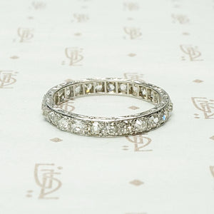 Elevated Old Mine Diamond Eternity Band in Platinum
