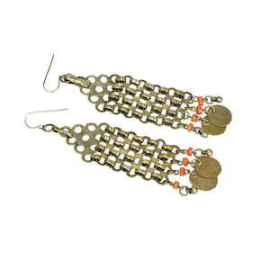 Dramatic Antique Tribal Earrings with Coins and Coral - Gem Set Love