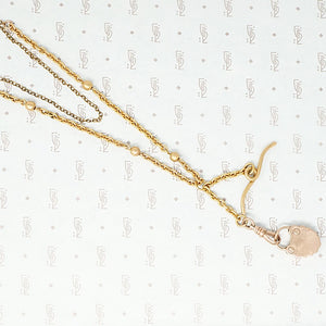 Fancy Rose Gold Filled victorian lock necklace back with faux screws