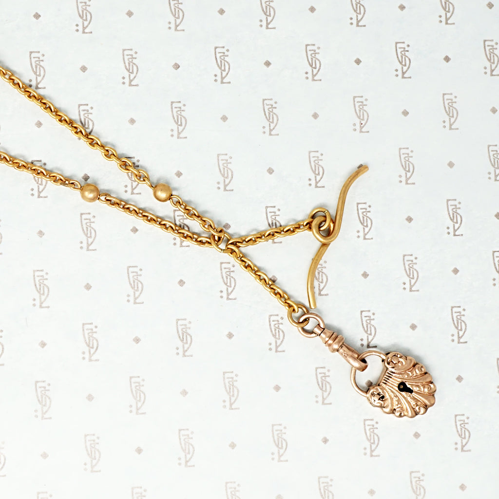 Fancy Lock and T-bar Necklace From The Love Lock Collection