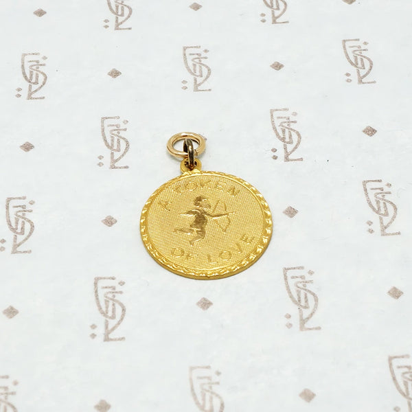 a token of love cupid charm gold filled circa 1950