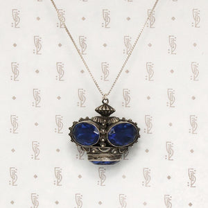 Royal Blue Over Sized Crown Charm Necklace