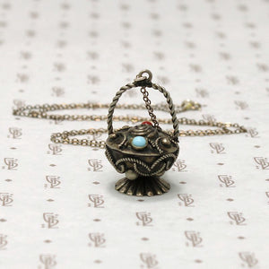 Ornate Silver Basket Charm Necklace
