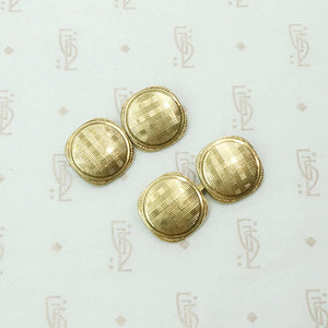 Handsome Deco Plaid Cuff Links in Gold