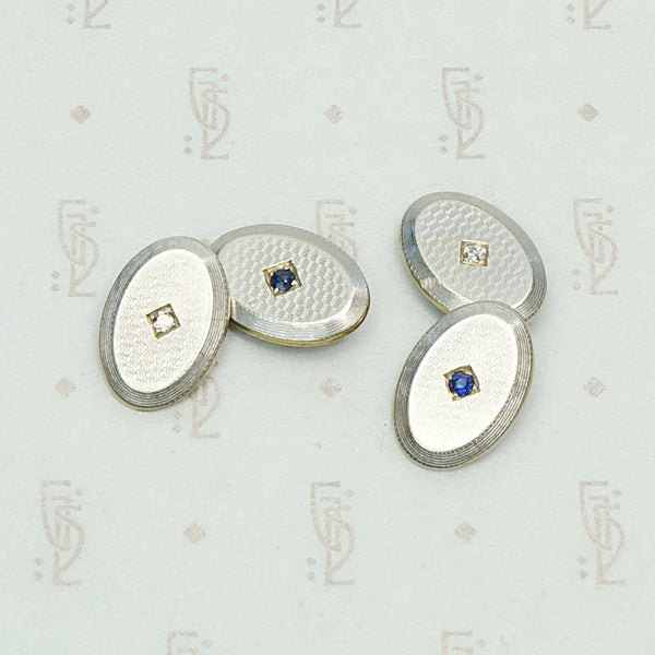 Platinum & Gold Gem Set Deco Cufflinks