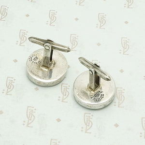 Sterling Disc Signed Taxco Cuff Links