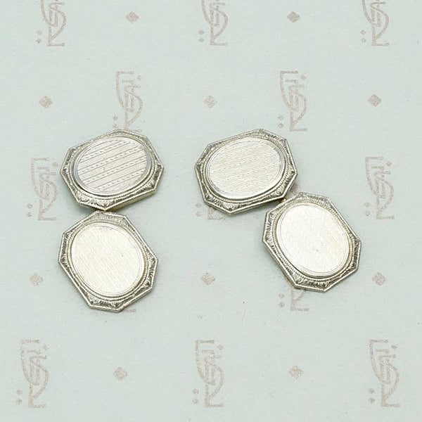 Handsome Two Tone Cufflinks with Engraved Platinum & Gold