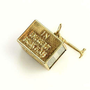 14k Gold Mad Money Charm 1950's - Gem Set Love