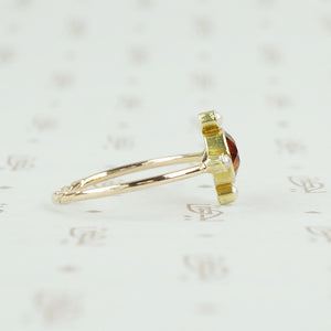 Deep Maderia Citrine and Pearl Vintage Conversion Ring