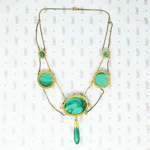 Elaborate gold malachite vicorian necklace reverse