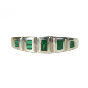 Malachite and Sterling Vintage Bracelet - Gem Set Love