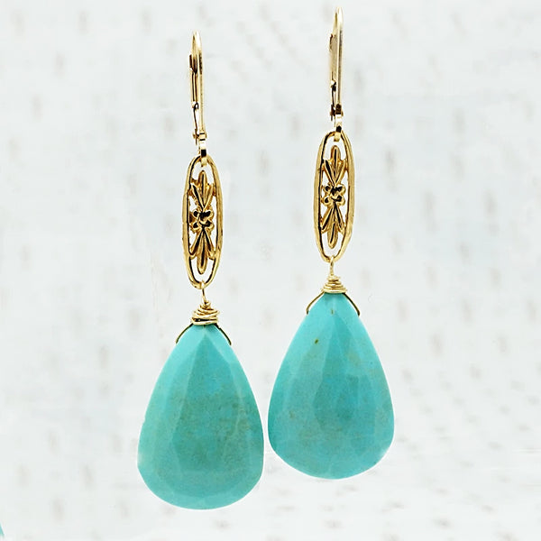 The Marché Pendant Drop Earrings by brunet in Yellow Gold with Turquoise