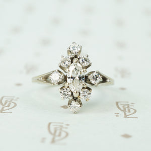 White gold vintage marquise cluster diamond ring