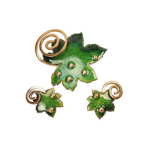 Bright Green Enameled Pin and Earring Set