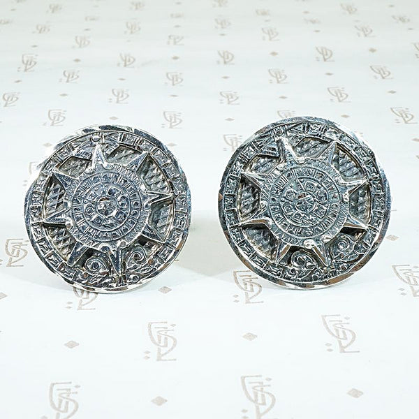 Aztec Calendar Sterling Cuff Links from Taxco