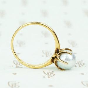 14k yellow gold mikimoto grey pearl solitaire ring 6 prong side view