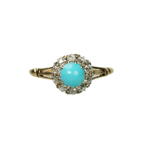 Old Mine Cut Diamonds and Turquoise Blue Ring