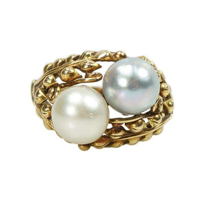 Ming's 14k Yellow gold and Double Pearl Ring