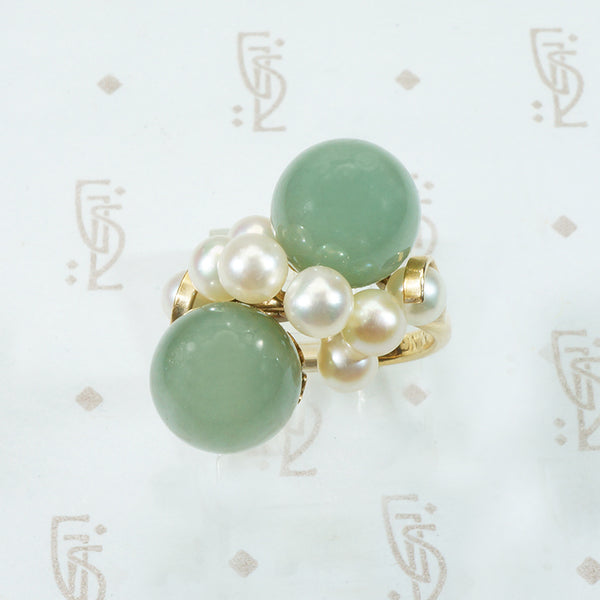 Bubbles Ring Jade and Pearl in 14k yellow gold Mings of Honolulu