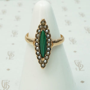 9k malachite and pearl navette shaped ring rosey gold