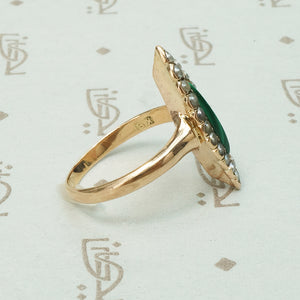 Antique Malachite and Pearl Ring