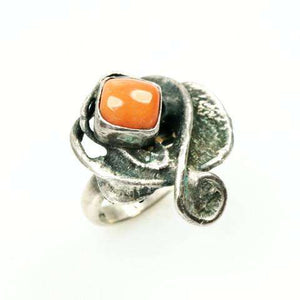 Scandinavian Modernist 830 Silver ring set with Red Coral