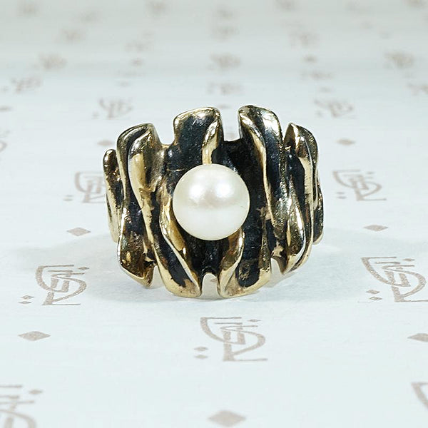 Mysterious Deep Modernist Pearl Ring