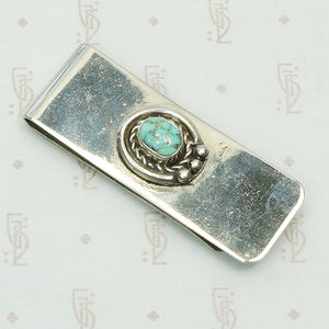 sterling silver turquoise set sw american money clip