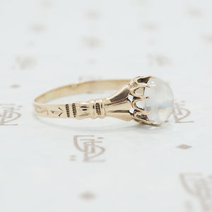 rose gold moonstone ring victorian side view