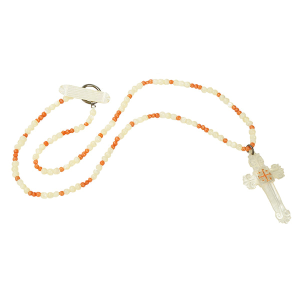 Antique Mother of Pearl Cross and Coral Necklace