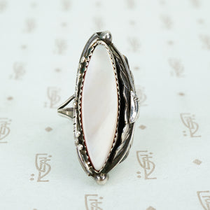 sterling silver native american mother of pearl ring