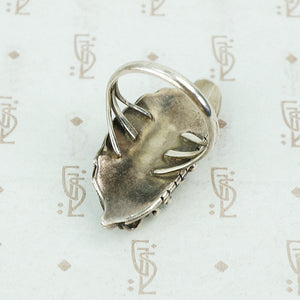 sterling silver native american mother of pearl ring back view