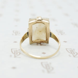 gold moss agate ring back