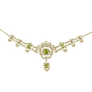 Gem Set Gold Necklace by London Jewelers Murrle and Bennett - Gem Set Love