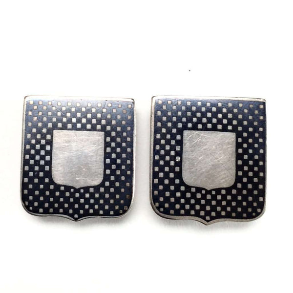 Shield Shaped Silver Niello Enamel Cuff Links circa 1900
