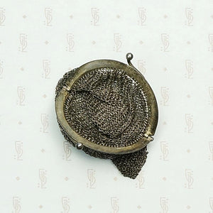 Wee French Purse in Silver Chain Mail. Open mouth view.