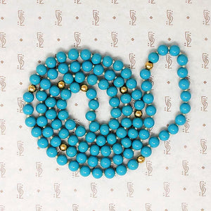 Long Turquoise Glass & Gold Bead Necklace