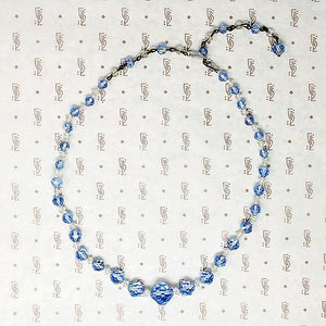 1950s Blue & White Aurora Beads with AB Finish