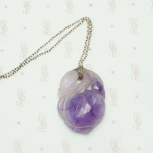 Chinese Carved Amethyst Plum Necklace