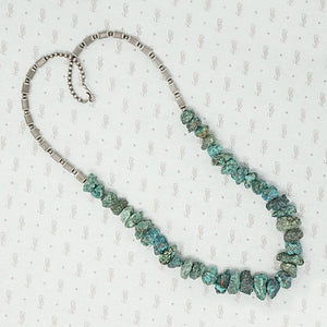 Rough Hewn Turquoise & Silver Bead Necklace