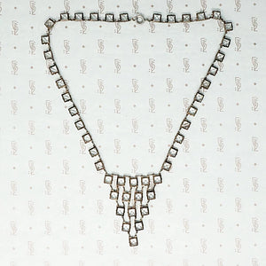 Art Deco Crystal and Chrome Bib Necklace
