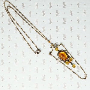 Glowing Amber Glass Czech Necklace