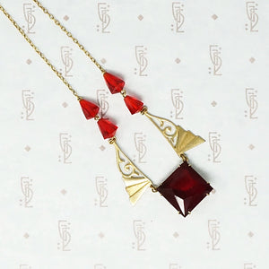 Cherry Red Glass Art Deco Necklace